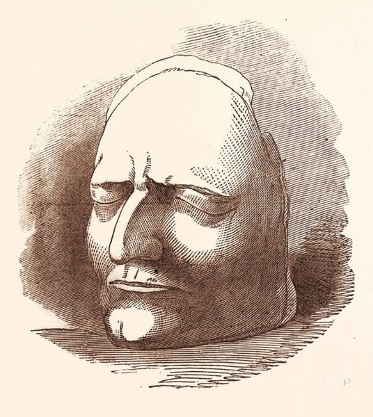 Wall Art - Drawing - Posthumous Mask Of Sir Isaac Newton, 25 December 1642 - 20 by English School