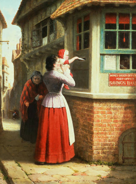 Crone Wall Art - Painting - Posting A Letter, 1879 by Frederick Daniel Hardy