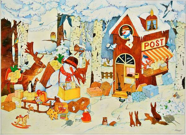Snowman Photograph - Postoffice-christmas, 2001 Wc On Paper by Christian Kaempf