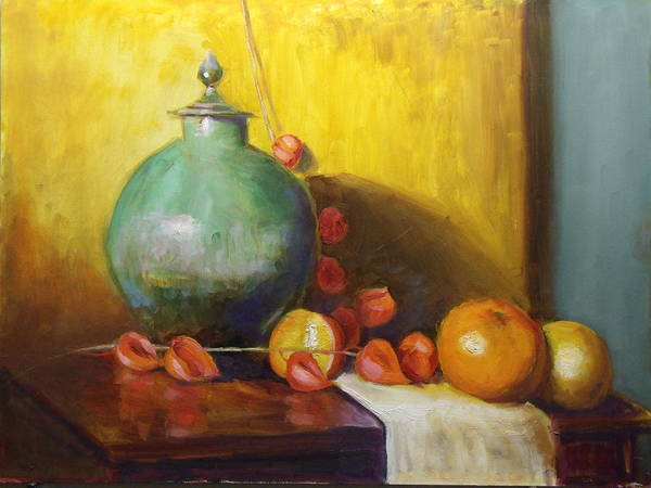 Painting - Pot With Fruit by Nicolas Bouteneff