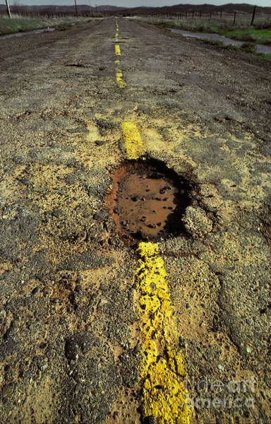 Potholes Wall Art - Photograph - Pothole On A Country Road by Ron Sanford