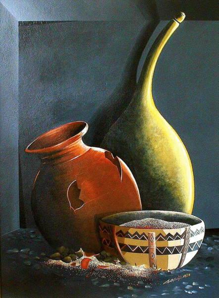 Painting - Pots Et Pierres by Laurend Doumba