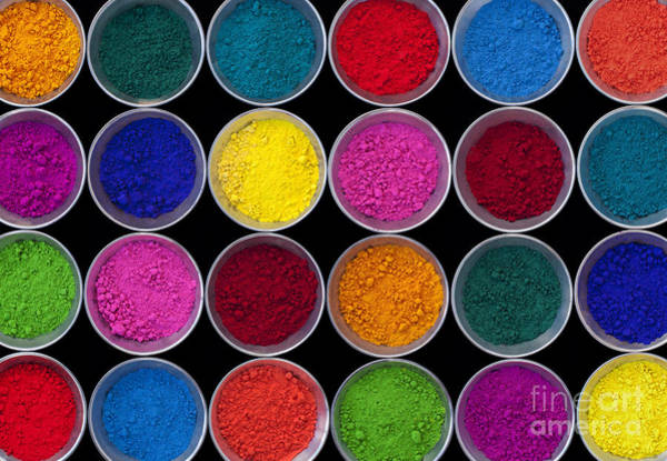 Indian Photograph - Pots Of Coloured Powder Pattern by Tim Gainey