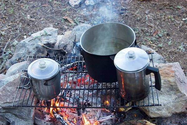 Camping Wall Art - Photograph - Pots On A Camp Fire by Jim West