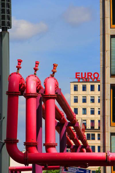 Photograph - Potsdamer Platz Pink Pipes In Berlin by Ben and Raisa Gertsberg