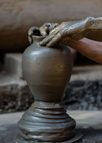 Potters Wheel Wall Art - Photograph - Potter At Work by Dutourdumonde Photography