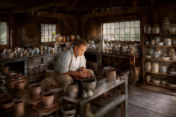 Potters Wheel Wall Art - Photograph - Potter - Raised In The Clay by Mike Savad
