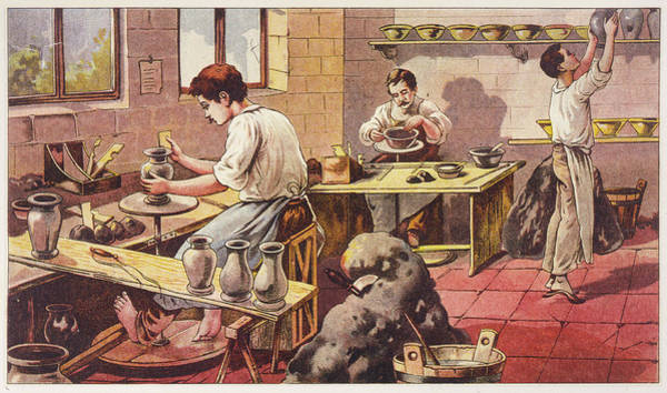 Potters Wheel Wall Art - Drawing - Potters At Work, One Barefoot by Mary Evans Picture Library