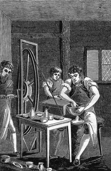 Potters Wheel Wall Art - Drawing - Potters At Work, Using A by Mary Evans Picture Library