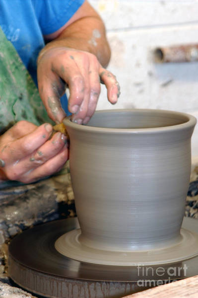 Potters Wheel Wall Art - Photograph - Potters Hands by Susan Leavines Harris