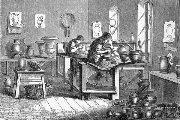 Potters Wheel Wall Art - Drawing - Potters Working With The Wheel by Mary Evans Picture Library