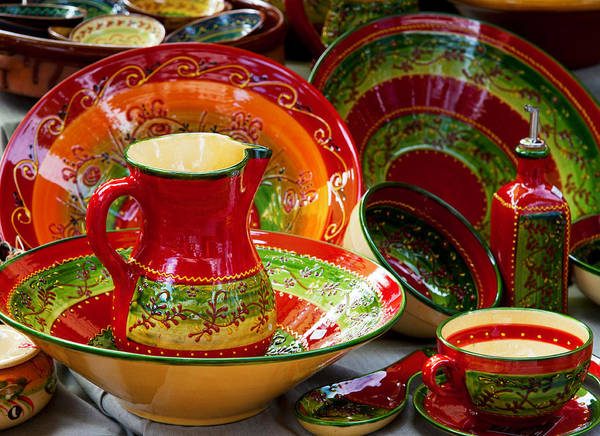 Lourmarin Photograph - Pottery For Sale At A Market Stall by Panoramic Images