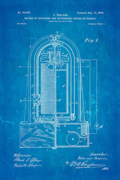 Fitter Photograph - Poulsen Magnetic Tape Recorder Patent Art 1900 Blueprint by Ian Monk