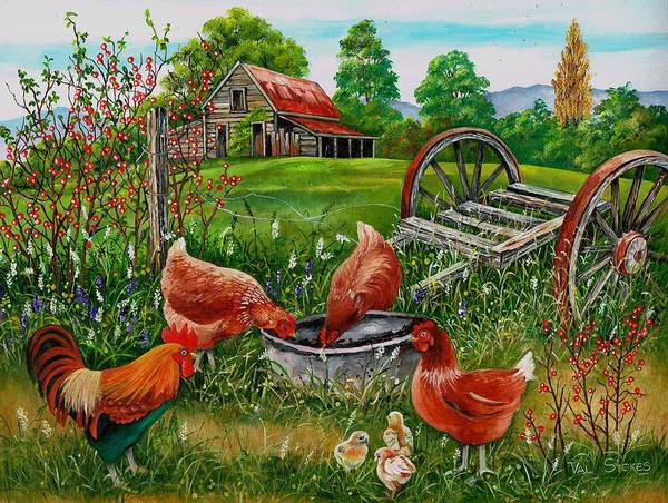 Painting - Poultry Peckin Pals by Val Stokes