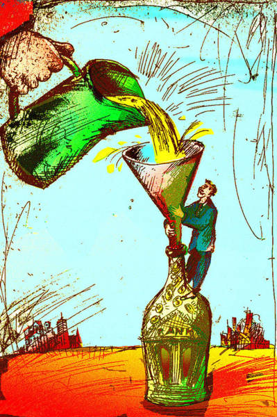 Pouring Liquid Gold Into Bottle Art Print by Vasily Kafanov
