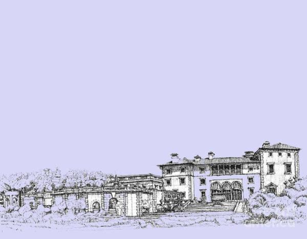 Planner Wall Art - Drawing - Powder Blue Vizcaya Museum  by Building  Art