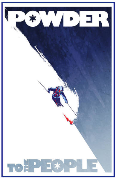 Skiing Painting - Powder To The People by Sassan Filsoof