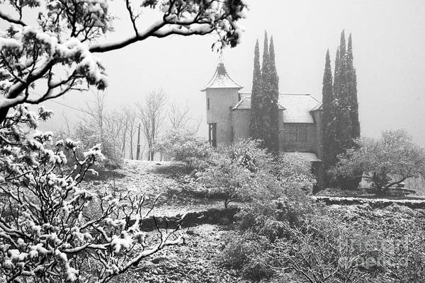 Photograph - Powderbox Church With Snow In Jerome Arizona by Ron Chilston