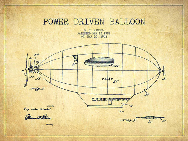 Hot Air Balloon Digital Art - Power Driven Balloon Patent-vintage by Aged Pixel
