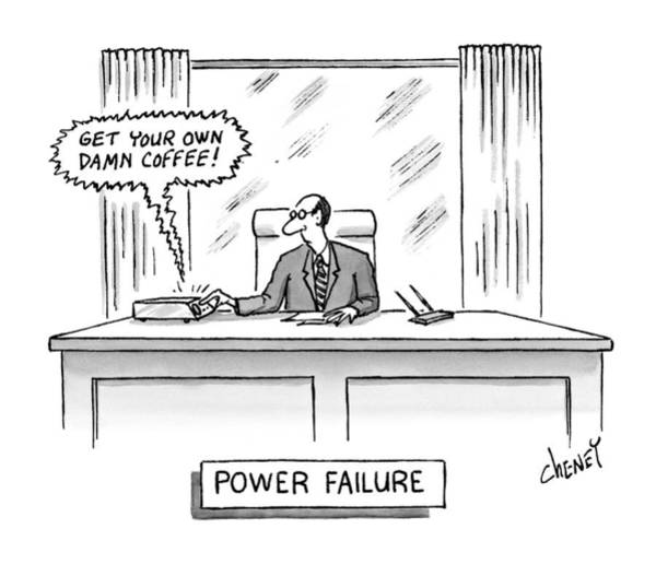 1998 Drawing - Power Failure by Tom Cheney