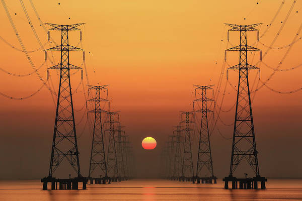 Transmission Wall Art - Photograph - Power Line by Tiger Seo