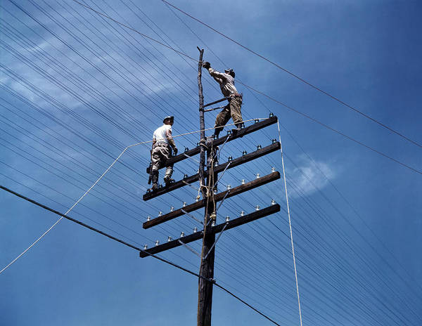 Wall Art - Photograph - Power Line Workers, 1942 by Granger