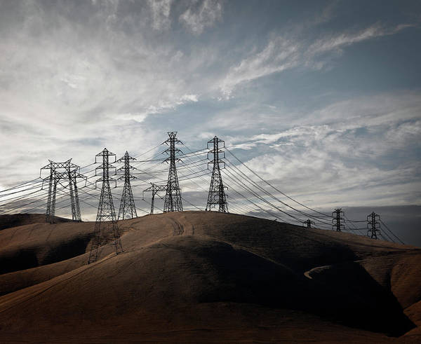Electricity Generation Photograph - Power Lines In California Hills by Ed Freeman