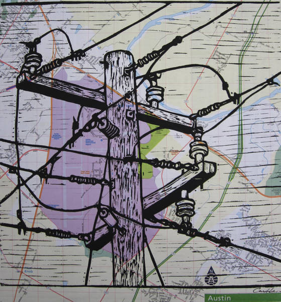 Drawing - Power Lines On Map by William Cauthern