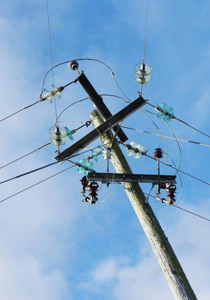 Glass Insulator Photograph - Power Lines With Glass Insulators by Cordelia Molloy