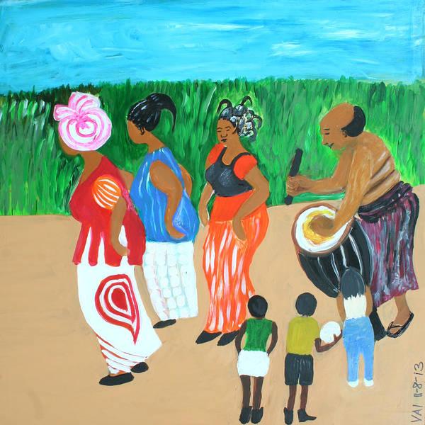Ghana Painting - Power Of The Drum by Vivian IDOWU