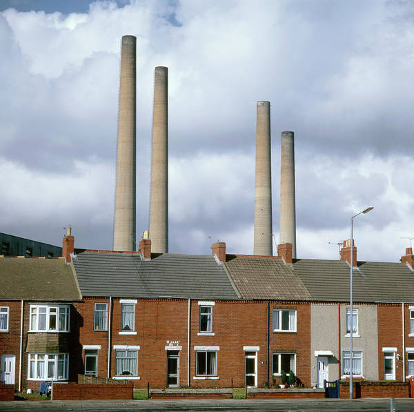 Northumbria Photograph - Power Station Chimneys by Robert Brook/science Photo Library