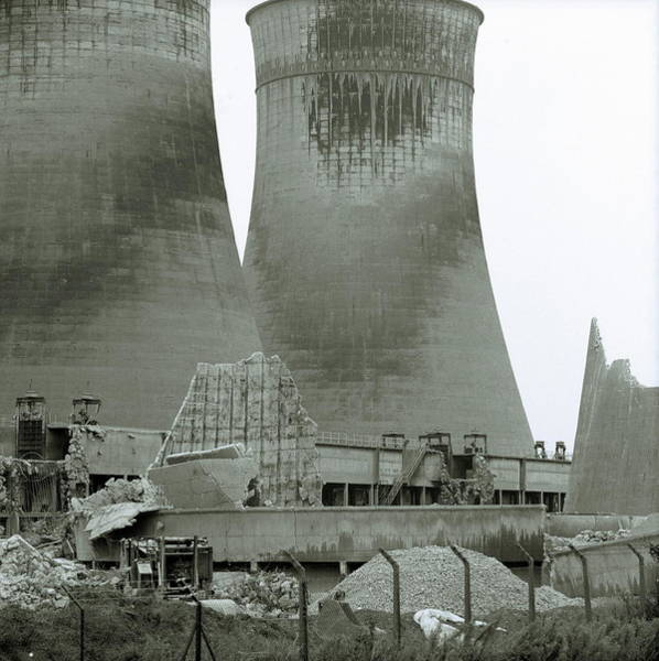 Cooling Tower Photograph - Power Station Demolition by Robert Brook/science Photo Library