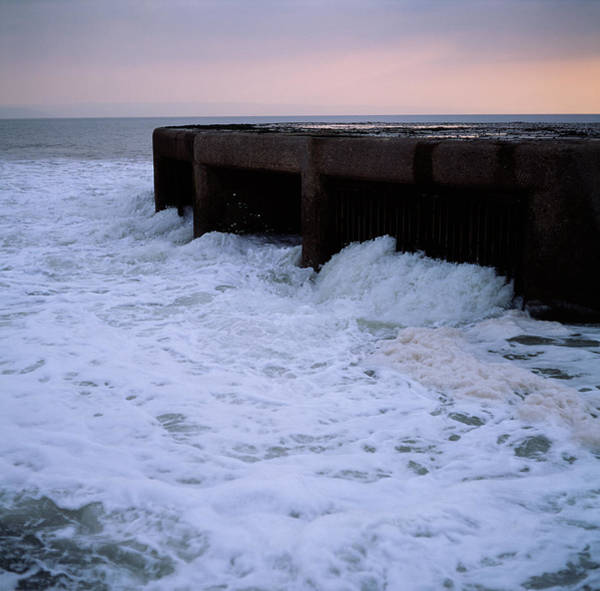 Bristol Channel Photograph - Power Station Water Outlet by Robert Brook/science Photo Library