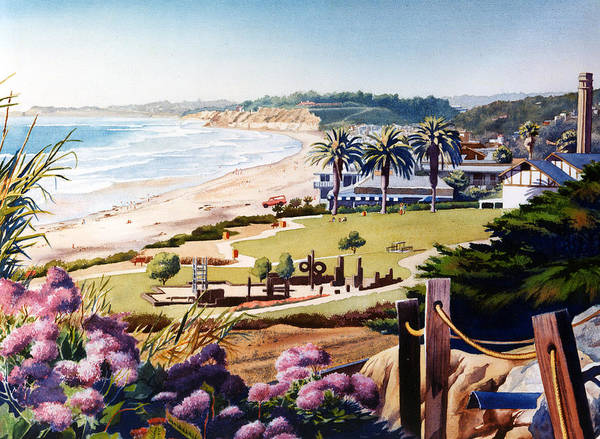 Southern California Painting - Powerhouse Beach Del Mar Lilac by Mary Helmreich
