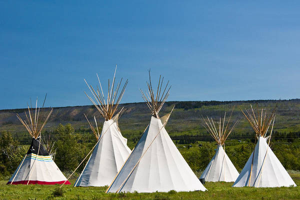 Photograph - Powwow Teepees Of The Blackfoot Tribe By Glacier National Park No. 3095 by Randall Nyhof