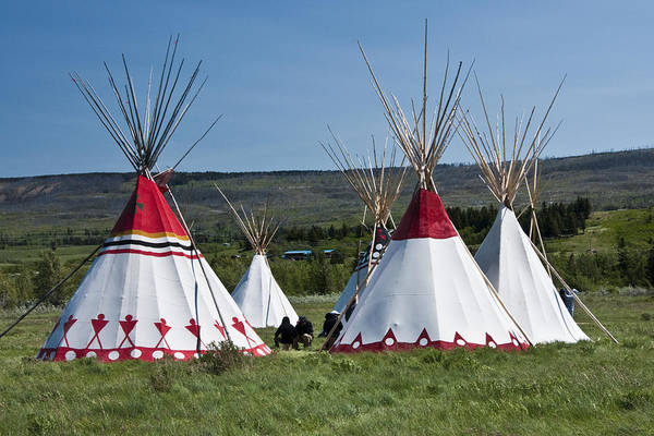 Powwow Wall Art - Photograph - Powwow Teepees Of The Blackfoot Tribe By Glacier National Park No. 3100 by Randall Nyhof