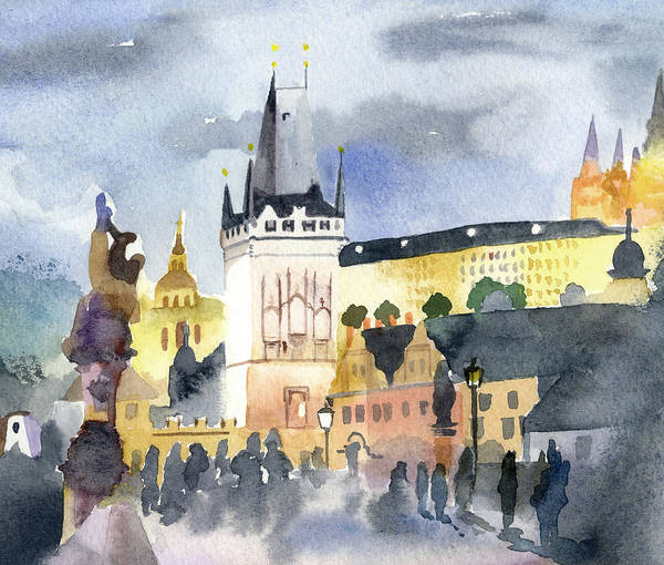 Praha Wall Art - Painting - Prague At Night by Lydia Irving