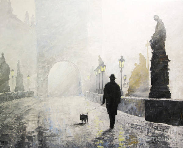 Charles Painting - Prague Charles Bridge Morning Walk 01 by Yuriy Shevchuk