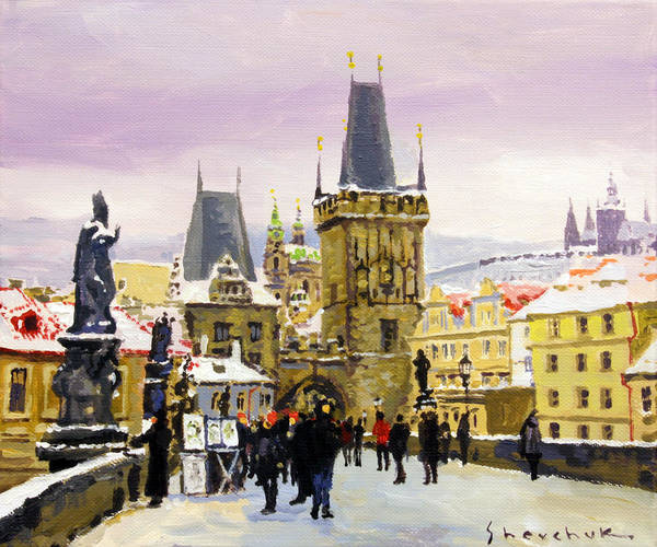 Charles Bridge Painting - Prague Gharles Bridge Winter by Yuriy Shevchuk