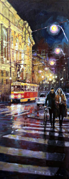Walk Painting - Prague Masarykovo Nabrezi Evening Walk by Yuriy Shevchuk