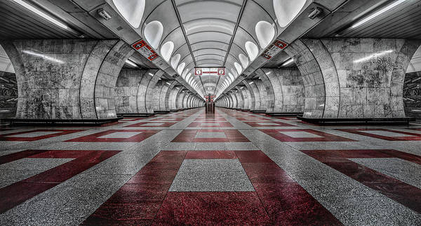 Selective Color Photograph - Prague Metro by Massimo Cuomo