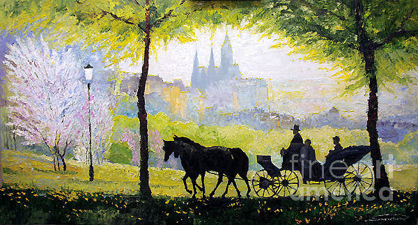 Wall Art - Painting - Prague Midday Walk In The Petrin Gardens by Yuriy Shevchuk