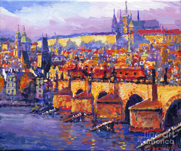 Wall Art - Painting - Prague Panorama Charles Bridge 06 by Yuriy Shevchuk