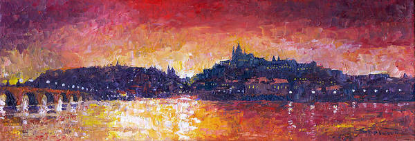 Wall Art - Painting - Prague Red Panorama by Yuriy Shevchuk