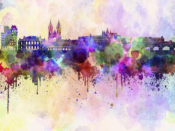 Czech Digital Art - Prague Skyline In Watercolor Background by Pablo Romero
