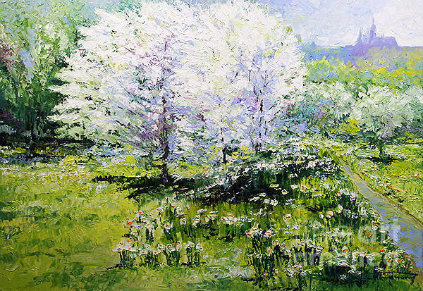 Painting - Prague Spring In The Petrin Gardens by Yuriy Shevchuk
