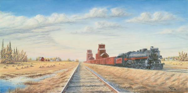 Diesel Trains Painting - Prairie Harvest by Dan Reid