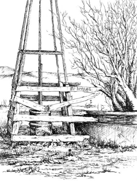 Drawing - Prairie Song Ranch Water Department by Sam Sidders