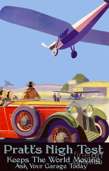 Brochure Drawing - Pratt's High Test Vintage Advertisment by Jon Neidert