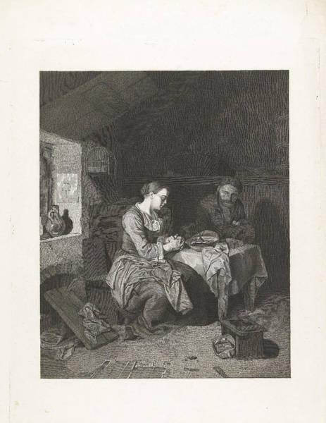 Wall Art - Drawing - Prayer Before Meals, Bega Friedrich Wilhelm Burmeister by Friedrich Wilhelm Burmeister